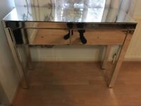 GLASS TABLE DRAWER MIRROR IN GOOD CONDITION BEDSIDE