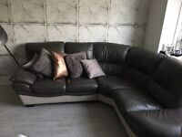 Grey leather corner sofa + swivel chair SET for sale.