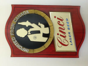 Cinci Lager Beer Sign and Metal Serving Tray
