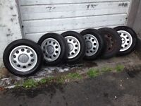 Audi Set of 5 Alloy Wheels, with centre cap and tyres, excellent condition.