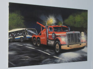 LARGE ORIGINAL PETERBILT 359 WRECKER PAINTING WITH STM NOVA BUS