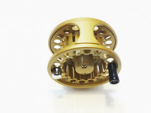 5/6 CNC ANODIZED ALUMINUM ALLOY MED ARBOR FLY REEL GOLD
