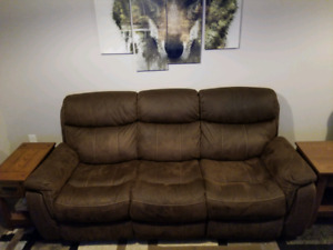 Reclining faux suede sofa