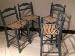 KITCHEN COUNTER OR BAR STOOLS/CHAIRS - WOOD WITH RAWHIDE WEBBING