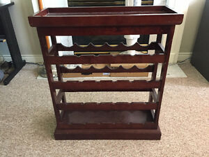 Standing Cherry Wood Wine Rack with Removable Top Tray