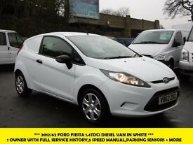 2012 FORD FIESTA 1.4 TDCI DIESEL VAN IN WHITE 1 OWNER FROM NEW WITH FSH PARKING