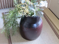 Decorative Red Planter with Artificial Flowers