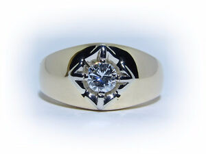 Men's 0.41ct Solitaire Diamond 14kt Gold Ring
