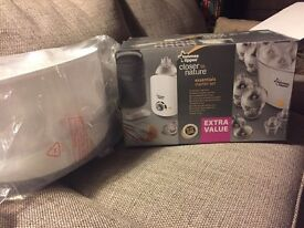Tommee Tippee Electric Steriliser (brand new) and bottles