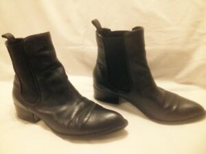 "Ladies ""Brown's Shoes"" Black All Leather Short Chelsea Boots"