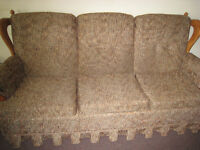 Brown Couch and Rocker - Wooden Colonial Style Frame