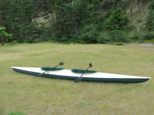 17' Fiberglass Two Person Kayak with Paddles