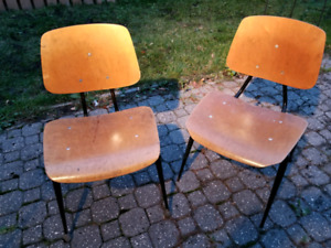 Pair of original vintage 1950's Molded wood side chairs