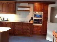 Solid wood kitchen double oven cooker, fridge, hob, dishwasher Stove Chippendale