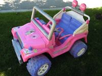 "POWER WHEELS ""Barbie"" JEEP, Battery, Charger, Good Cond..$100.00"