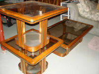 Glass and Wood matching Coffee table and 2 End Tables