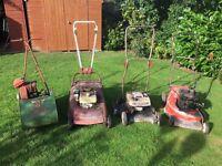 Job lot of 4 petrol lawn mowers Suffolk colt etc