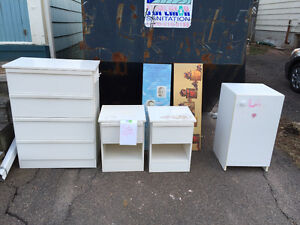 FREE Used Bedroom Furniture, dresser, 2 side tables, 1 cabinet