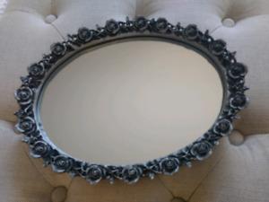 Oval Mirror Vanity Tray