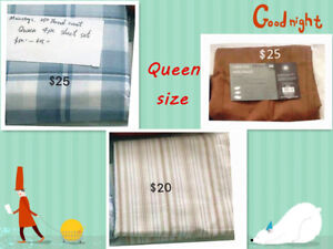 Brand new twin, double and quee size sheets set for 50% off