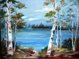 "Original Oil Painting by Mrs. Jack Douglas ""Owen Sound"" 1950 Stratford Kitchener Area image 2"