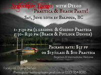 Tango lessons, Guided Practica and Potluck Beach Party!