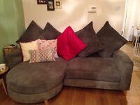 Grey 4 seater sofa and cuddler sofa