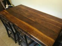 Stunning solid vintage wood dining table and 4 chairs