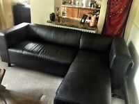 leather (real) black contemporary corner sofa - almost new