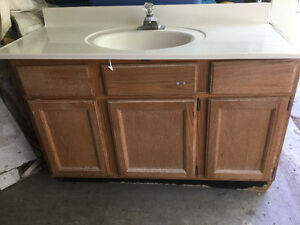 "48"" Used Oak Vanity and Sink"