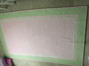 Pottery Barn Kids Pink and green 5 x 7 area rug
