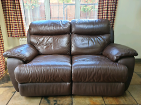 Brown leather electric recliner 2 seater sofa