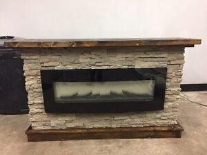 Custom made fireplace mantel wood beam & base