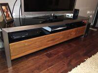 Walnut chrome tv stand - dwell