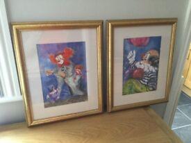 Framed clown prints