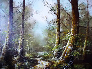 """Forest Landscape Painting by Carl Madden """"Forest Road"""" 1970's Stratford Kitchener Area image 10"""