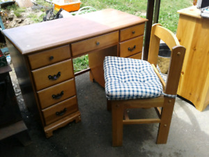 All wood desk with chair