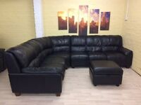 Huge Black Leather Corner Sofa Suite