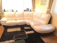 Black n white corner leather sofa