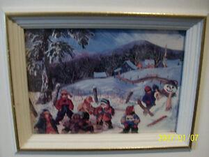 Tableau vintage 'Les joies de l'hiver',