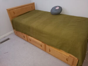 CHILDREN'S BED, DESK AND HUTCH /WOOD