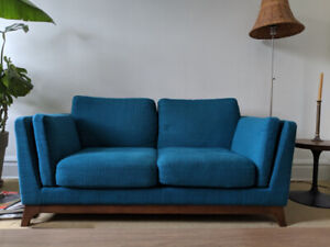 Nearly new lagoon blue loveseat from Article.