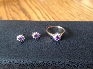 10kt Yellow Gold Amethyst Ring & Matching Earrings NEW