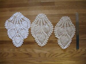 3 Assorted Tear Drop Shaped Doilies
