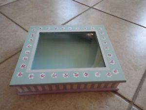 Handpainted wooden glass top keepsake jewelry box container