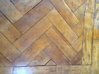 Antique reclaimed oak parquet flooring