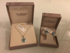 Tesori Mondo Sterling Silver earrings with matching necklace