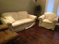 Off-white Brocade Loveseat and Chair