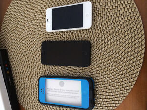 iPhone 5 (with blue case or without) and iPhone 4