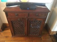 Very solid dark wood cabinet with drawers